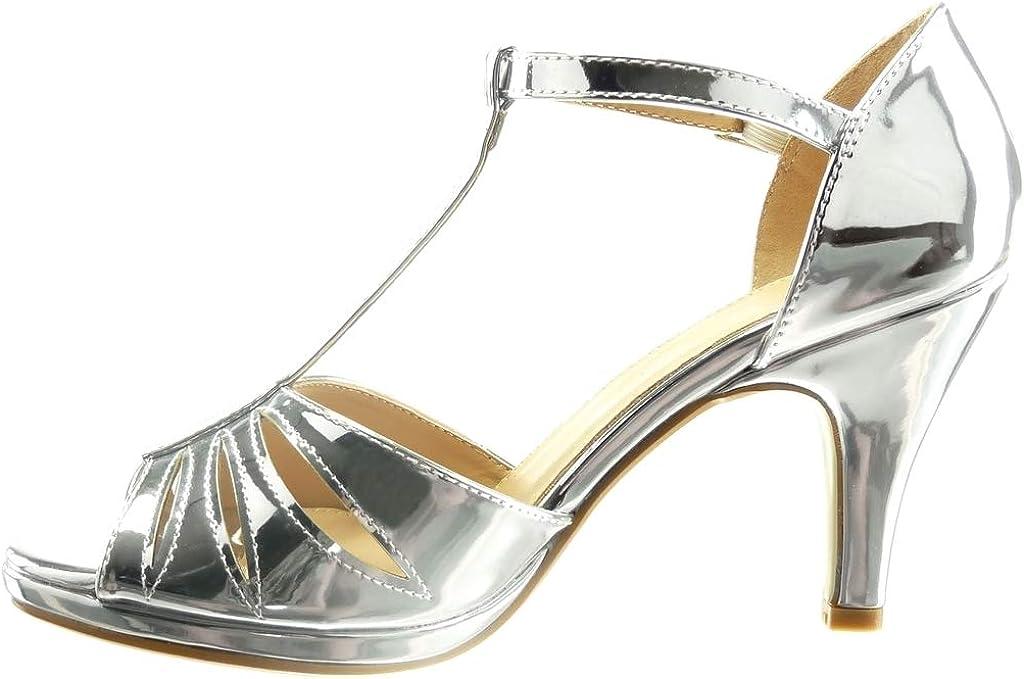 Angkorly Chaussure Mode Sandale Plateforme Femme lani/ère Multi-Bride Boucle Talon Haut Bloc