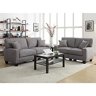 "Serta by True Innovations 78"" 2-Piece Sofa2Go Martinique Sofa Set in Kona Gray"