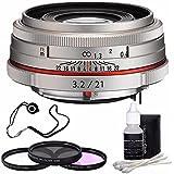 Pentax HD Pentax DA 21mm f/3.2 AL Limited Lens (Silver) + 3 Piece Filter Kit + Deluxe 3pc Lens Cleaning Kit + Lens Cap Keeper 6AVE Bundle