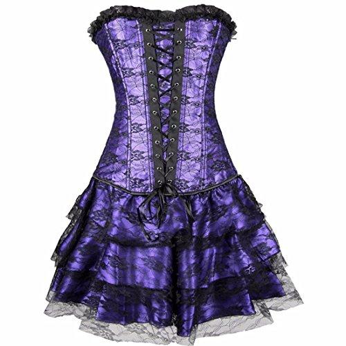 Yall túnica falda tres piezas de encaje Guarnecido de encaje Purple