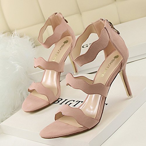 Xing Lin Leather Sandals Summer New Black Suede With Fine Roman Shoes With A High Heel Open Toe Sandals Pink