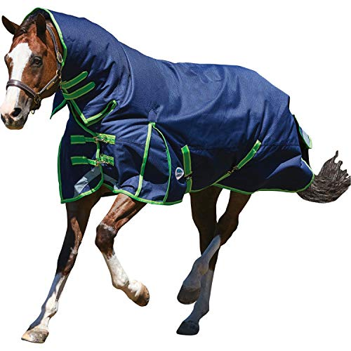 (Weatherbeeta Comfitec Medium/Lite Plus Dynamic Combo Neck Turnout Rug (7 ft) (Navy/Lime))