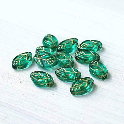 (12 Czech Glass Beads 12mm x 7mm Pressed Glass Leaf Shape - CB108)
