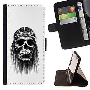 Momo Phone Case / Flip Funda de Cuero Case Cover - Hippie Paz del cráneo Negro fumadores - Motorola Moto E ( 1st Generation )