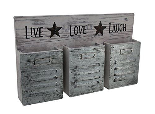 Wood   Metal Wall Hangings Shabby Finish Live Love Laugh 3 Pocket Wall Organizer 16 X 9 5 X 2 5 Inches Light Pink
