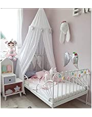 Bed Canopy, Crib Netting Canopy Kids Nursery Canopy Mosquito Net Soft Material Pompom Play Canopy Hanging Tent For Baby Girls Room