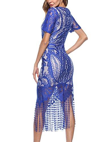 en avec Robe Collante Femme Elgante Doublure Mioloe Robe Cocktail Longue De Party Soire Perles Vintage Frange Robe avec 1920s D't Bleu Dentelle HaZZqwd5x