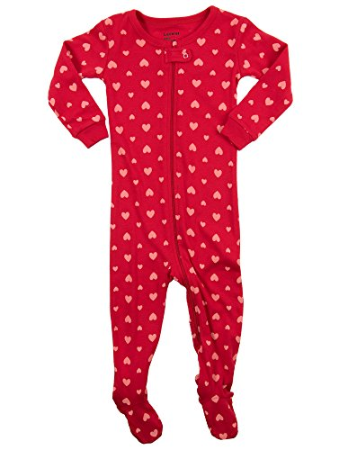 Leveret Hearts Footed Pajama Sleeper 100% Cotton 5 Years by Leveret