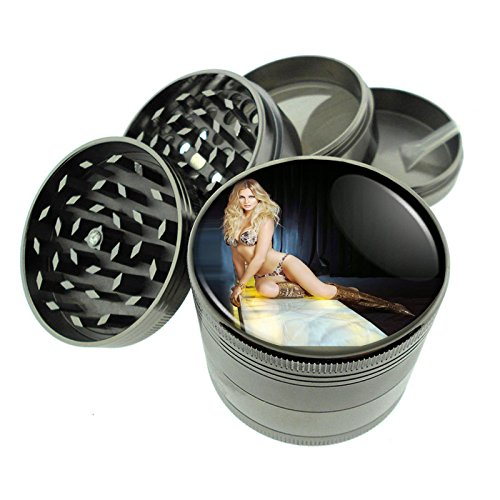 Argentina Pin Up Girls South America S3 Dark Cool Gray / Titanium Zinc Metal Grinder 4 Piece Diamond Cut Teeth Heavy Duty