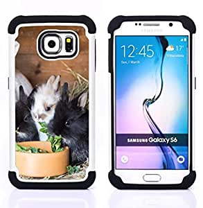 - Rabbit Cute - - Fulland Deluxe Hybrid TUFF Rugged Shockproof Rubber + Hard Case Cover FOR Samsung Galaxy S6 G9200 Queen Pattern