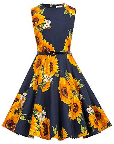 Girl's Floral Printed Vintage 50's Summer Ball Dresses 13-14 Years Sunflower-2