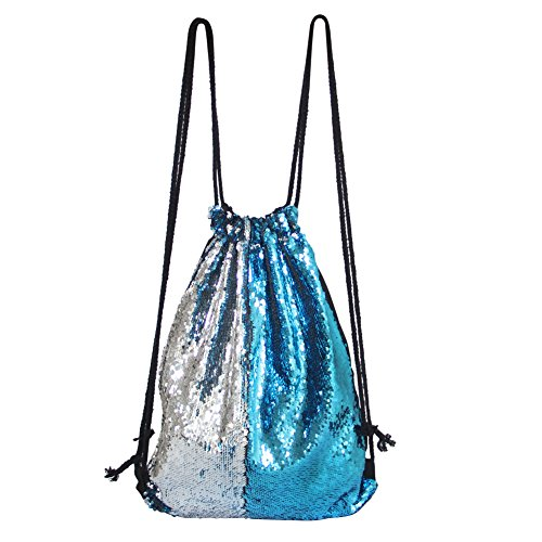 MHJY Drawstring Backpack Mermaid Sequin Bag Glitter Fashion reversible Sequin Backpack Bling Dance Bags (Lake Blue/Slive) (Reversible Bag Drawstring)