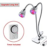 Dual Head LED Grow Lights, Desk Clip Grow Lamp with Double Flexible Gooseneck and Individual Switch for Home Office Indoor Plants (Timer Included)