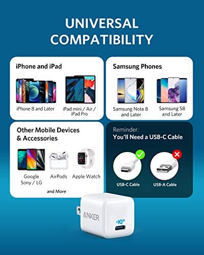 Anker Nano USB-C Charger, PIQ 3.0 Durable Compact Fast Charger, PowerPort III USB-C Charger for iPhone 12/12 Mini / 12 Pro / 12 Pro Max / 11, Galaxy, Pixel 4/3, iPad Pro (Cable Not Included)