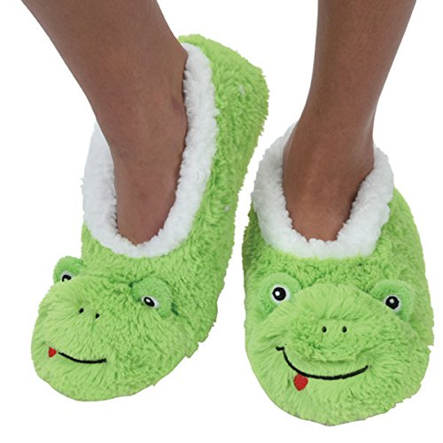 Furry Pal (Snoozies Kidz Animal Furry Foot Pals Cozy Fleece Non Skid Slipper Socks - Frog, Large)