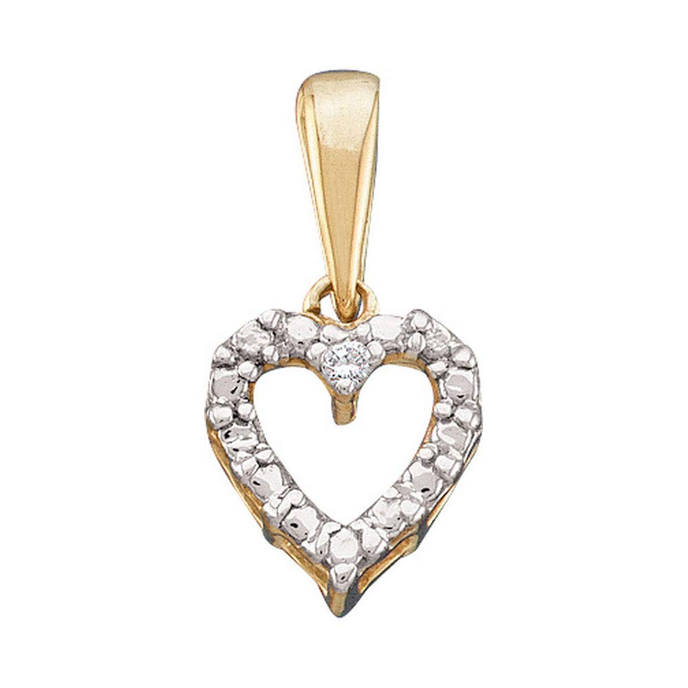 Dazzlingrock Collection 10kt Yellow Gold Womens Round Diamond Heart Pendant .01 Cttw