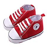 WAYLONGPLUS Infant Cute Canvas Sneaker Toddler Prewalker Anti-skid Soft Trainer Shoes (Red, Size 12)