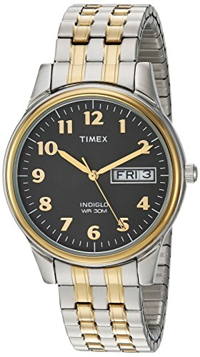 (Timex Men's T2N093 Charles Street Two-Tone Extra-Long Stainless Steel Expansion Band Watch)