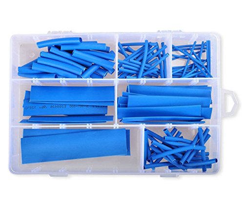 Conshine 2:1 Heat Shrink Tubing Wrap Sleeves Assorted Sizes - 124pcs Blue (Pvc Gauge 100 Tubing Shrink)