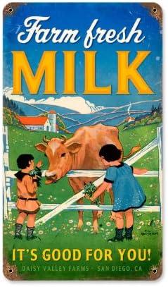 Farm Fresh Milk Metal Wall Sign