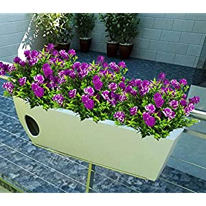 E-HAND Artificial Flowers Rose Outdoor Greenery Shrubs Plants Plastic Bushes Indoor Outside Hanging Planter Wedding Cemetery Decor 5