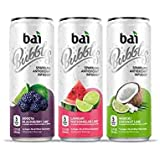 Bai Bubbles, Sparkling Water, Sublime Variety Pack, Antioxidant Infused Drinks, 11.5 Fluid Ounce Cans, 12 count, 4 each of Bogota Blackberry Lime, Lambari Watermelon Lime, Waikiki Coconut Lime