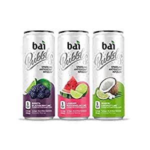 Bai Bubbles Sublime Variety Pack, Antioxidant Infused, Sparkling Water Drinks, 11.5 Fluid Ounce Cans, 12 count (4 each of Bogota Blackberry Lime, Lambari Watermelon Lime, Waikiki Coconut Lime)