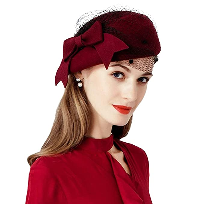 1930s Style Hats | Buy 30s Ladies Hats Wool Felt Fedoras Pillbox Hats Wedding Party Church Fascinator Kentucky Derby Hat $29.59 AT vintagedancer.com