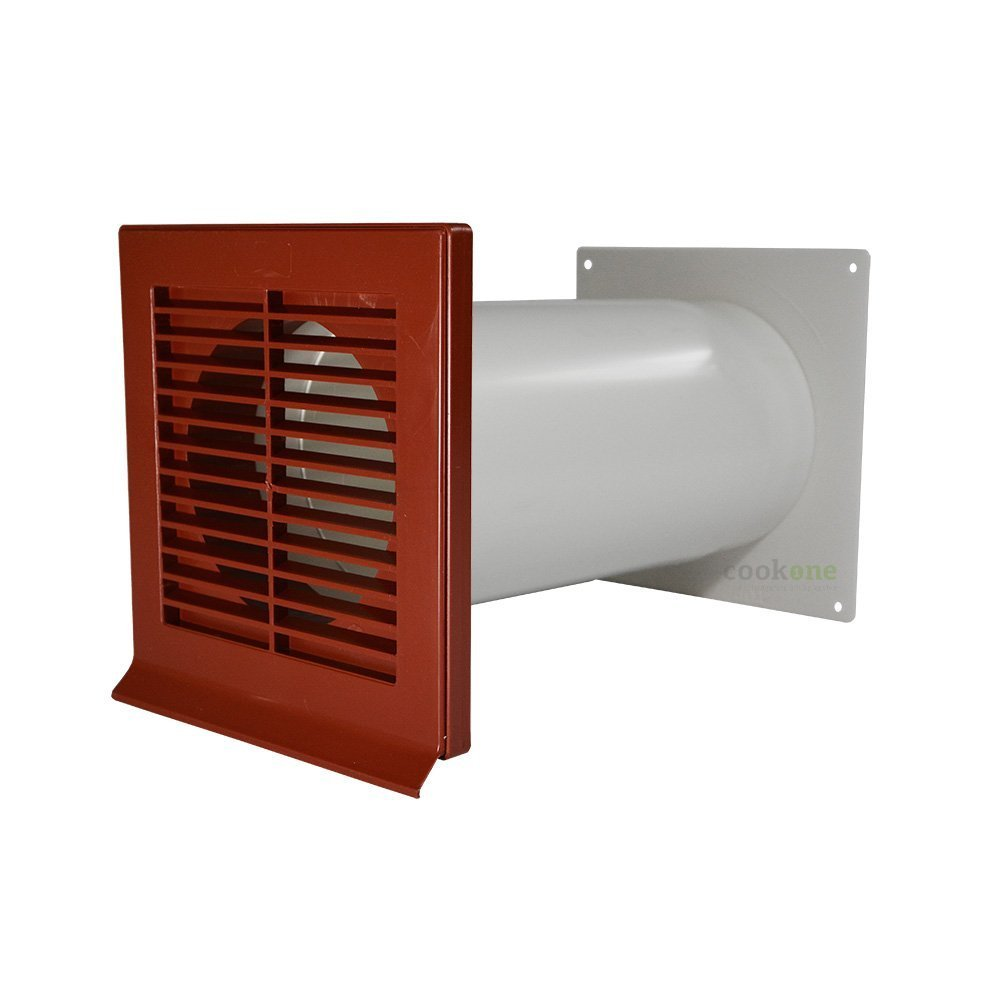 EASYTEC® Mauerkasten Ø 125 mm rot/ziegelrot mit Teleskoprohr und Rückstauklappe easytec Lüftungstechnik