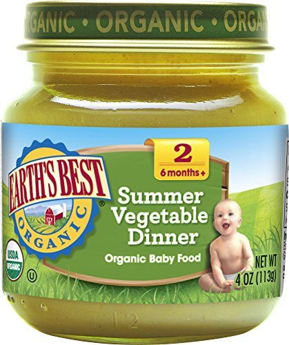 Earth's Best Organic Stage 2 Baby Food, Summer Vegetable Dinner, 4 Ounce Jars, Pack of 12