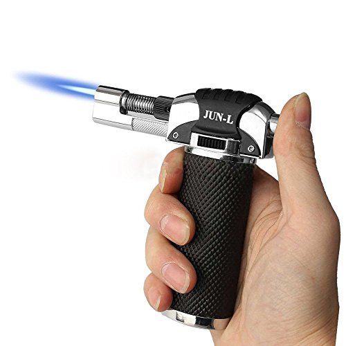 JUN_L Metal Flame Gun Welding Gas Torch Lighter Heating Lgnition Butane Portable Camping Welding Gas Torch for crème brûlée Outdoor BBQ (Silver)