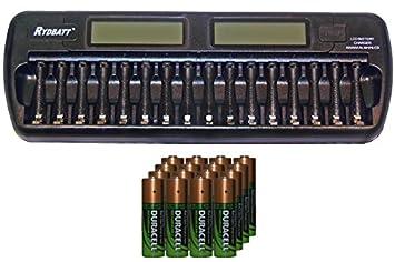 Amazon.com: 16 Bay AA/AAA LCD cargador de batería + 16 aA ...
