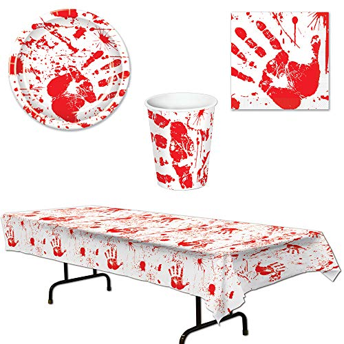 Bloody Handprints Halloween Table Cover Plates Napkins Cups 49 Piece Bundle for 16