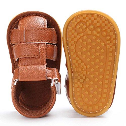 Hunpta Baby Kleinkind Jungen Niedliche Krippe Schuhe Anti-Rutsch Prewalker Soft Sohle Schuhe Sandalen Braun
