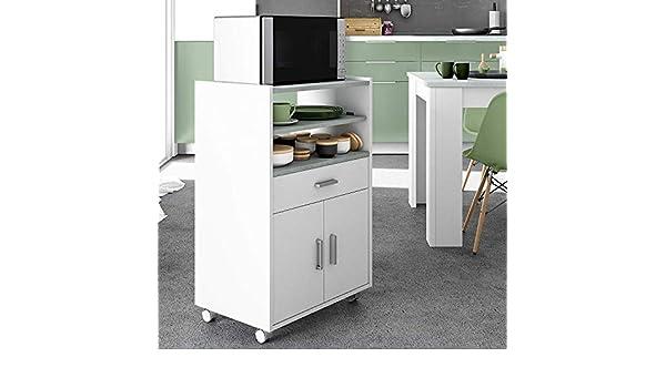 HABITMOBEL Mueble Auxiliar microondas con un cajón y Dos ...