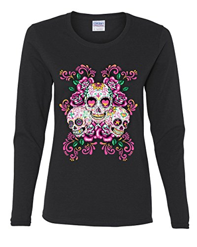 3 Sugar Skulls Women's Long Sleeve Tee Dia de Los Muertos Roses Day of The Dead Black XL (Day Of The Dead Long Sleeve T Shirts)
