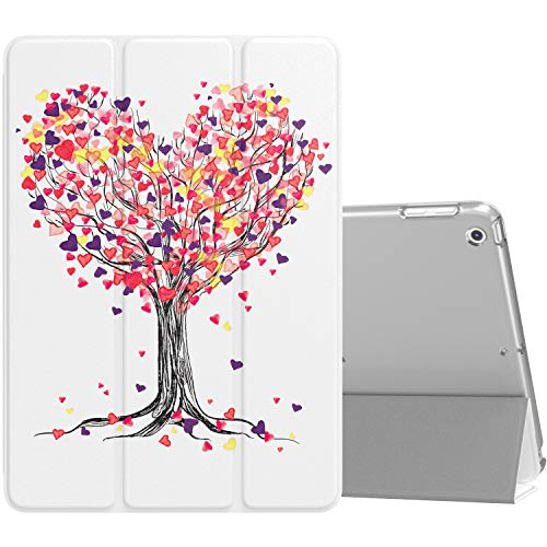MoKo Case Fit iPad 9.7 2018/2017 - Slim Lightweight Smart-Shell Stand Cover with Translucent Frosted Back Protector Fit Apple iPad 9.7 Inch(iPad 5, iPad 6, Love Tree (Auto Wake/Sleep)