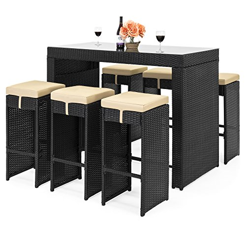 (Best Choice Products 7-Piece Outdoor Rattan Wicker Bar Dining Patio Furniture Set w/ Glass Table Top, 6 Stools - Black)