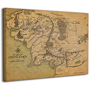 LP ART Canvas Print Wall Art Middle Earth Map Lord of The Rings Picture Painting for Kids Baby Bedroom Modern Home Decor Ready to Hang Stretched and Framed Artwork 16''x20''