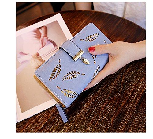 Hoja Billetera de Mujeres de Cuero Cartera Bolso de la Señora Mujeres Largas (Azul): Amazon.es: Equipaje