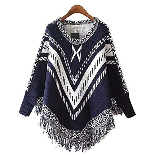 Irregular Chale Vtements Blau2 Outerwear Lannister Femme Fashion Imprim lgant Mode Automne Cape Asymtrique Houppe Manteau Young Casual Hiver Chale wXqOfpX