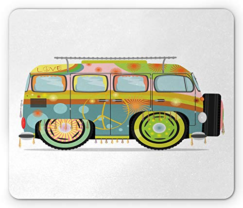 Ambesonne Urban Graffiti Mouse Pad, Hippie Campervan with Colorful Exterior Painting with Artsy Peace Symbol, Standard Size Rectangle Non-Slip Rubber Mousepad, Multicolor