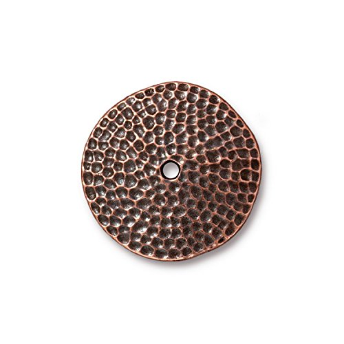 TierraCast Hammered Disc, 25mm, Antiqued Copper Plated Pewter, 2-Pack