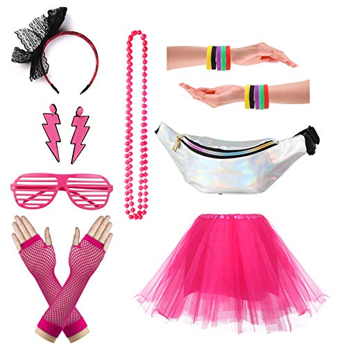 CSG Women's 80s Outfit Accessories Neon Earrings Leg Warmers Gloves Tutu Skirt (Hot Pink)