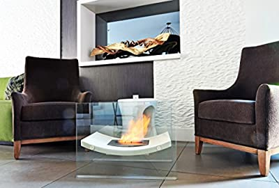 Chic Fireplaces Santa Fe Modern Design Curved Modern Bio-ethanol Fireplace, Larger Size and Higher Quality Tempered Glass and Stainless Steel Burner Insert