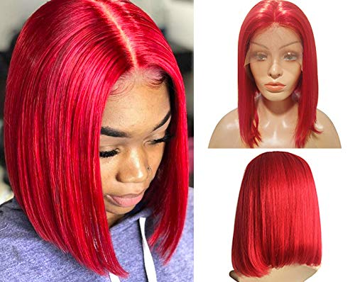 - Smartinnov Lace Bob Wigs Red 180% Density 13×4 Lace Frontal with Baby Hair Bleached Knots 10inch Brazilian Pre Plucked Middle Part Short Cut for Women(Could be restyle)