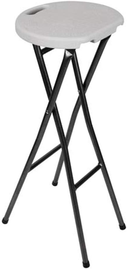 Perel pieghevole Sgabello da bar robusto e stabile colore: bianco//nero con schienale