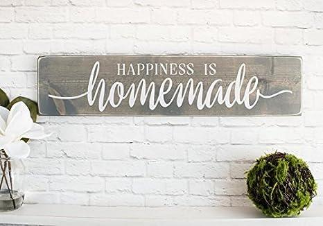 Amazon Com Yycharm Happiness Is Homemade Wooden Sayings Wall Decor