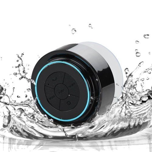 Eggsnow Waterproof Bluetooth Shower&Outdoor Speaker Handsfree Portable Speakerphone with Built-in Mic Strong Suction Cup for all Cell Phone & Bluetooth Devices-BlueBlack