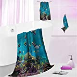DayDayFun Kids Bath Towel Sets Ocean Funny Bathroom Towels for Kids and Adults Exotic Wild Aquatic Animals S - Contain 1 Bath Towel 1 Hand Towel 1 Washcloth